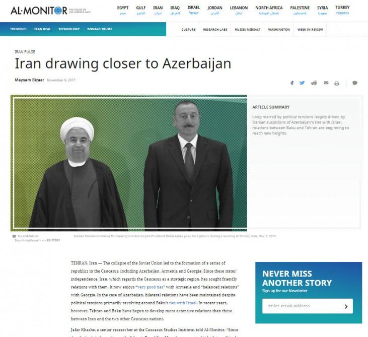 """""""Al-Monitor"""" saytı: İran Azərbaycanı seçir"""