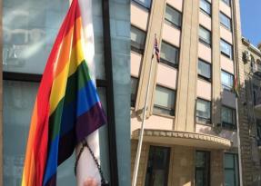 Bakıda Səfirlik binasından LGBT bayrağı asıldı