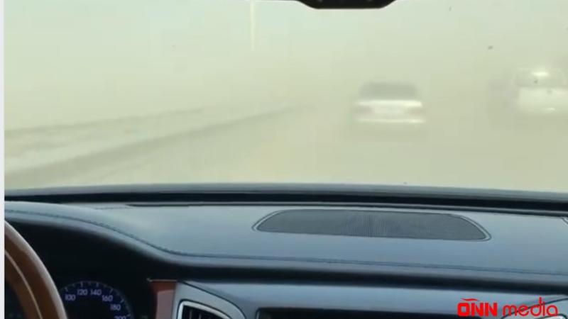 Bakının girişində güclü toz dumanı müşahidə olunur – VİDEO