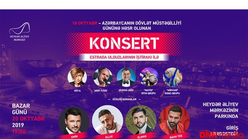 Heydər Əliyev Mərkəzinin parkında möhtəşəm konsert keçirilir