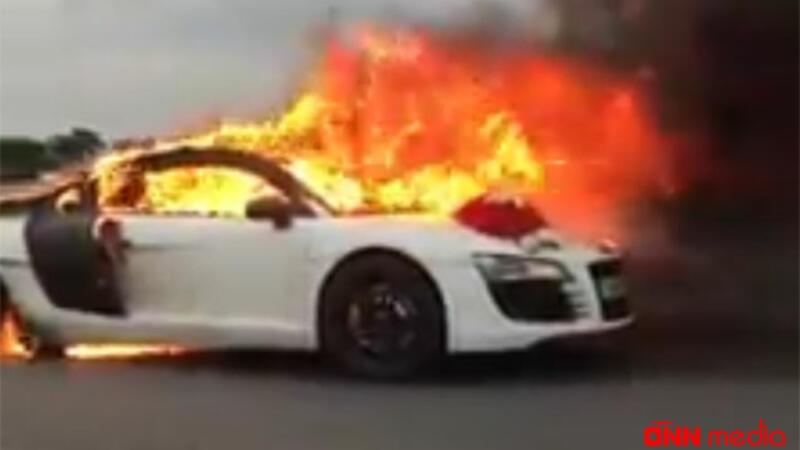 Bakıda QORXUNC ANLAR: bəy-gəlin maşını yandı – VİDEO
