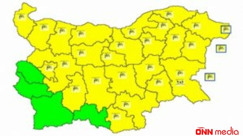 """Bolqarıstanın 24 bölgəsində """"sarı"""" meteo təhlükə kodu elan olundu"""