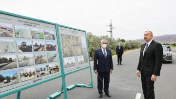 İlham Əliyev avtomobil yolunun açılışında (YENİLƏNDİ)